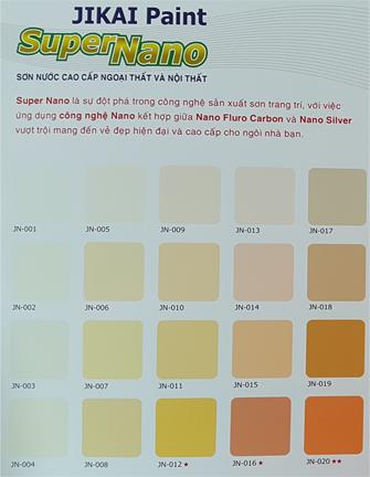 Bảng màu Sơn Nội - Ngoại thất Super Nano